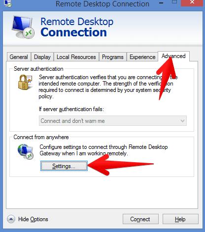 remote desktop connection advanced settings
