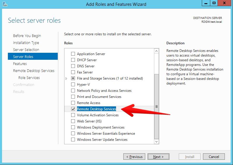 select remote desktop services role