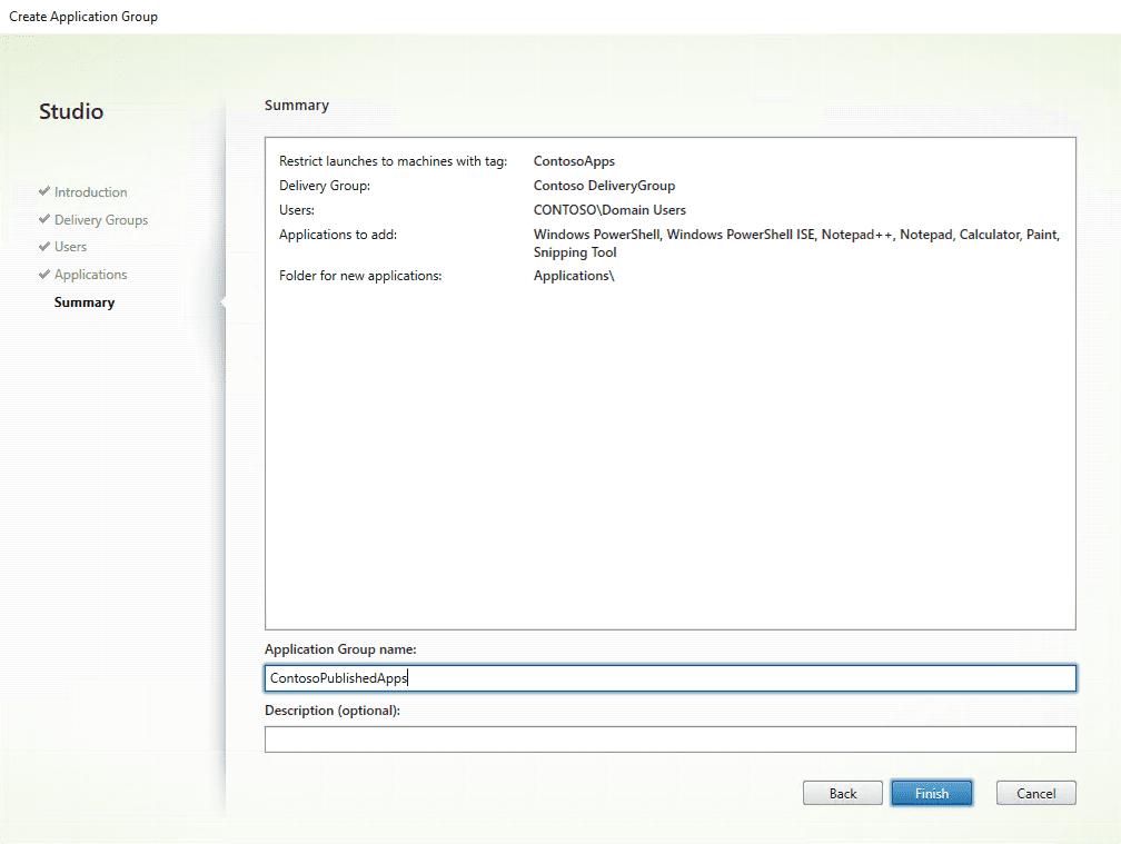 Citrix XenApp installation - Application group name