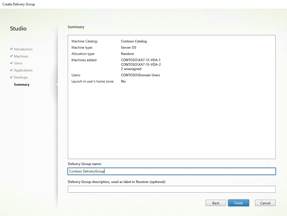 Citrix XenApp installation - Delivery group name
