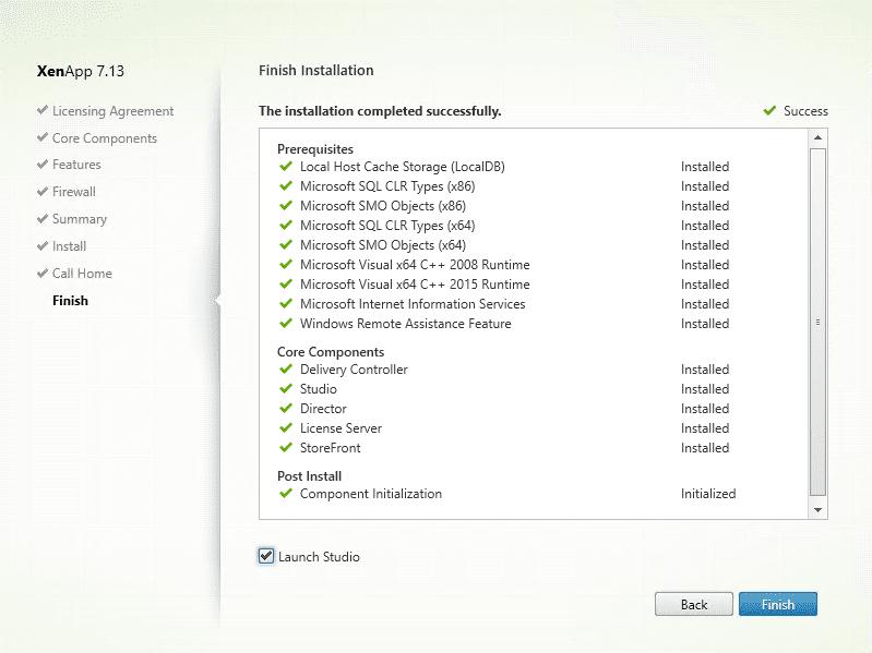 Citrix XenApp installation - Successful installation